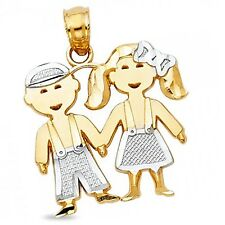 Boy & Girl Pendant Solid 14k Yellow White Gold Children Kid Charm Two Tone