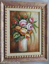 Fleurs tableau peinture huile hst bouquet moderne 57cm TBE c le prix du cadre !
