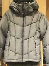 M&S New  Ladies Ski Wadding Puffa  Hooded Jacket With Detachable Sleeves Dove 10