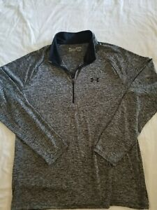 Under Armour HeatGear Loose Long Sleeve 1/4 Zip Pullover Gray/Black Size XL