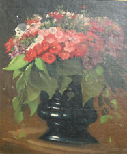 1990 European art impressionist oil painting still life with flowers signed