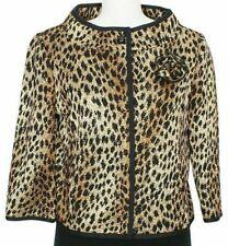 ST. JOHN Black Gold Brown Leopard Wool Blend Knit Pin Cropped Jacket 8