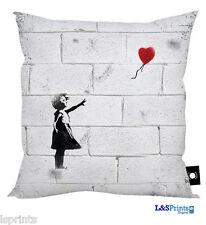 """BANKSY GRAFFITI HEART BALLOON GIRL DESIGN CUSHION GREAT GIFT IDEA 18"""" X 18"""""""
