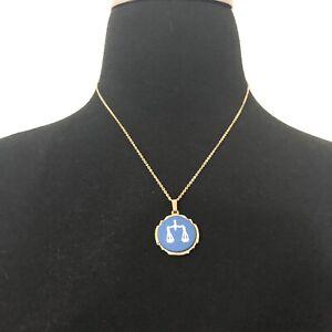 Authentic WEDGWOOD Libra Jasperwear Gold Pendant Necklace RARE Vintage W/ Box