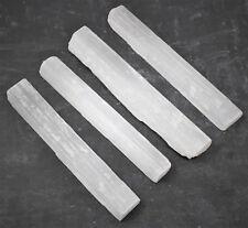 "4 x Selenite Sticks, 5"" Wand Rough Crystal Specimen Selenite Wand Reiki Chakra"