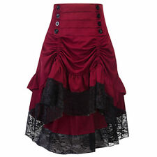UK Black Lace Gothic Burlesque Steampunk Vintage Gypsy Maiden Vamp Lolita Skirts