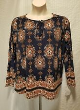 New Style&co Navy Blue Plus Size 1X Medallion Tie Up Long Sleeve Top Blouse