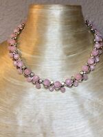 Vtg Crystal Rhinestones Necklace Designer Aurora Borealis Sparkle Pink Thermoset