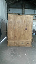 NEW SOLID WOOD RUSTIC CHUNKY PLANK QUAD WARDROBE WITH DRAWERS MADE TO MEASURE