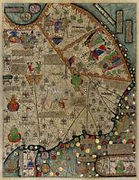 Mapamundi Abraham Cresques Catalan Atlas World Map 1375 Mapamondi Wall Poster