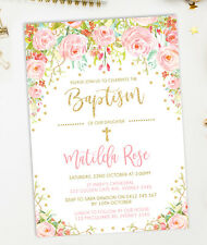 Floral Baptism Invitation Pink Gold Roses Confetti Christening Communion Invite