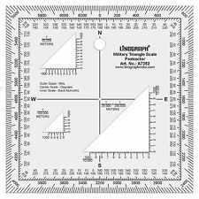 Clear Acrylic Map Reading Military Triangle Protractor 5 x 5 Inches-Lino-A7352
