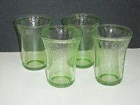 "SET of 4 HAZEL ATLAS FLORENTINE #2 GREEN URANIUM GLASS 4-1/4"" WATER TUMBLERS ***"