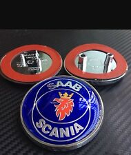 2x Set Saab Scania 9, 5, 9-5 9-3 Blue Front Hood Bonnet Emblem Badge