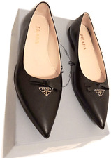Prada Sport Black Leather Flats Pointy Toe Ballet Shoe Loafer 36- 5.5