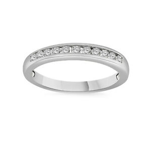 1/2 CT Silver Round Cut Channel-Set Real Diamond Wedding Stackable Band Ring