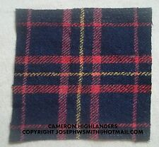 WW2 British Army,Cameron Highlanders tartan patches for Tam O Shanter cap, hat