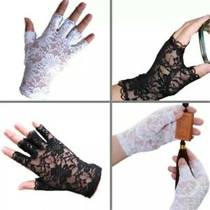 New Half Finger Lace Gloves Goth Party Sexy Dressy Women Lady Emo