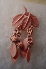 Vintage PINK Celluloid Leaf & Berry  Dangle Brooch Pin