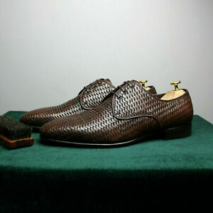 SALVATORE FERRAGAMO Leather Woven Shoes size UK 10/US 11/EU 45