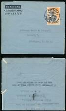 GOLD COAST QE2 AEROGRAMME STATIONERY 6d KOMENDA CLEAR POSTMARK USED 1956 to USA