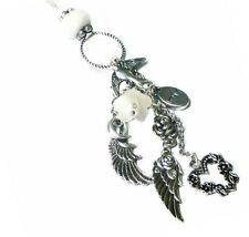 Necklace Long charm tassel, silver angel wings