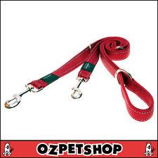 Rogz Reflective Adjustable Multi Purpose Dog Lead Red Fanbelt (20mm)