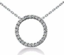 14 KT WHITE GOLD 1.82 CT CIRCLE OF LIFE DIAMOND NECKLACE 16 INCH CHAIN 25 MM