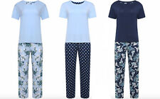 Womens Ladies Ex Marks And Spencer M&S Short Sleeve Floral Blue Spot Pyjama Set