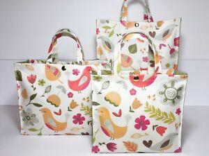Handmade,100% Oilcloth Cotton Bags, 'Da Larna' in Tutti Fruitti & Olive Matt