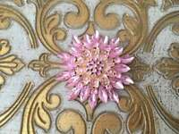 Sparkly 2.80 Ct Light Pink Sapphire Flower Brooch Pin in 18k Yellow Gold Over
