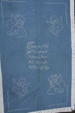 Antique Sleep My Child Peace Satin Embroidered Baby Crib Blanket Angels 32x49