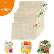 6PCS Simple Ecology Reusable Organic Cotton Mesh Grocery Shopping Produce Bags