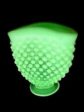 Fenton Yellow Opalescent Vaseline Glass -- Hobnail Footed Vase - RARE!