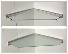 Eckregal Glas klar satiniert 55x55cm Pentagon / Profil Alu silbern /Kabelführung