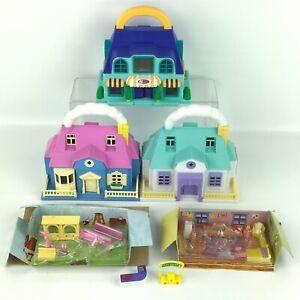 Vintage Blue Box Toys Tiny Dreams Carry Along Mini Doll Houses w/ Furniture