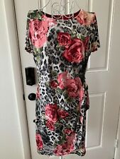 Women Signature by Robbie Bee Colorful Floral Print Short Sleeve Dress Size Pm