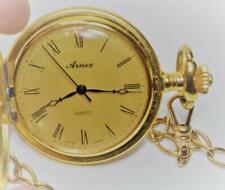 """Arnex Cuarzo Suizo Hecho Completo Hunter Color Dorado Bolsillo Reloj W 12"""" Chain"""