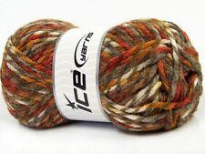 Ice THOR Yarn #67178 BROWN COPPER WHITE Self Striping WOOL Blend 100 Grams
