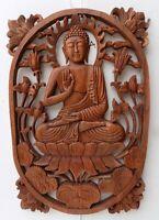 Pannello Buddha in legno massello suar Intarsiato a mano cm 33x47x2,5 quadro par