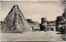 Primi '900 Roma piramide C. Cesilo porta Ostiense carrozza torre FP B/N ANIM