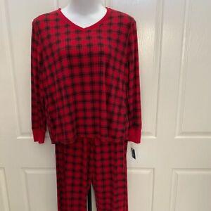 NEW wTag-Croft & Barrow Red/Black Plaid Pajama Set XXL