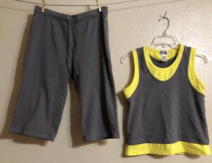 GW Sport Athletic Layered Tank Top Capri Pants Set Fitness Gray Yellow Petite L