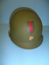 h44 WW 2 US  helmet shell hand painted 1st Infantry Division Officer Major