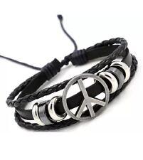 Fashion Black Leather Adjustable Bracelet Handmade Jewellery Cuff Women/Men