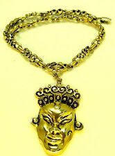 Vintage Face Princess NECKLACE Asian face Curly hair Mid Century Modernist