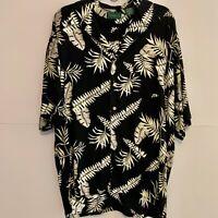 Scandia Woods Floral Hawaiian Shirt Men's Black White Short Sleeve Size Large