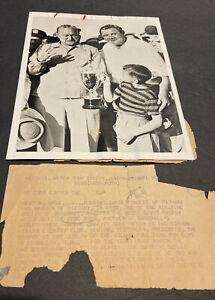 ORIGINAL 1941 BABE RUTH & TY COBB GLOSSY WIRE PHOTO~GOLF TOURN. W/BETTE DAVIS TR