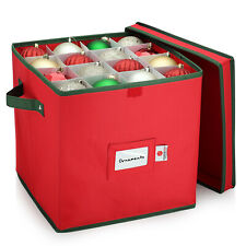 Christmas Ornament Storage Box 64 Balls Heavy Duty 600D Polyester Xmas Decor Box