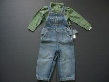 RALPH LAUREN Baby Boy's 2-Piece Shirt and Denim Overalls Sz 18M